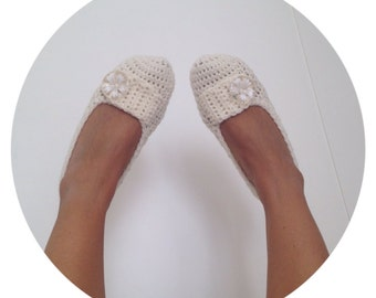Wool slippers, Crochet Boots, Wedding Slippers, Ballet Slippers, House Shoes