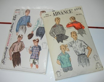 Simplicity 2543 and Advance 6613 complete boys patterns size 10-12