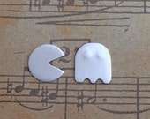 Pac man and ghost stud earrings sterling silver