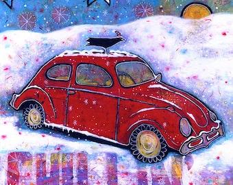 Groovy, VW Bug Art, Raven Canvas Print Wall Decor