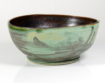 Turquoise and Bronze Textured Bowl Ceramic Small Earthy Iron Glaze