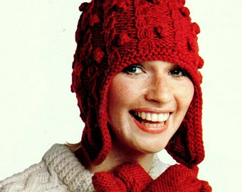 INSTANT DOWNLOAD PDF Vintage Knitting Pattern  Aran Ear Flap Hat and Mitts  Mittens Gloves  Cable and Bobbles