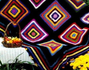INSTANT DOWNLOAD PDF Vintage Crochet Pattern Pinata  Granny Squares Afghan Throw Blanket Retro