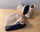 Baby Boy Stylish Hat and Boots Gift Set - 0-3 mo - tan and blue - ready to ship