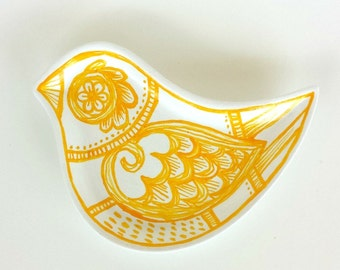 Ceramic Bird Dish Yellow and White Modern Polish Folk Art Painted Plate Spring Home Decor Ring Dish - READY TO SHIP