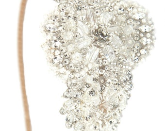 Bridal headband, Silver beaded, luxury designer, side headband, vintage wedding, rhinestone, hair accessory