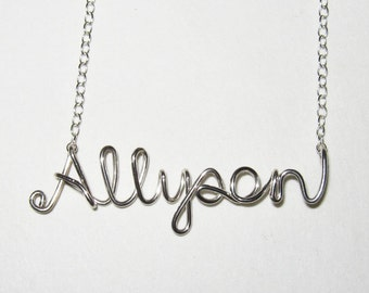 Name Necklace. Custom Sterling Silver Name Necklace. Personalized Silver Name Necklace. Script Wire Name Necklace. Girl Gift Under 50