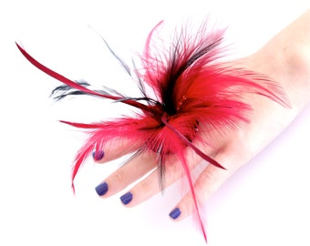 Feather Statement Ring Ceramic - big bold oversized handmade burlesque cocktail ring - MARDI GRAS