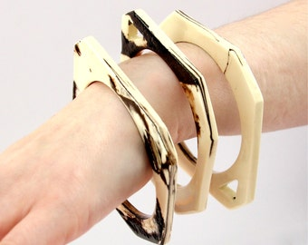 Big Ceramic Marbled Bangle Bracelet  - big bangle, oversized bracelet, chunky bangle,  statement jewelry, handmade by StudioLeanne