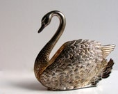 Vintage GODINGER Napkin Holder Swan Bird Silver Plated Kitchen Houseware Accessory