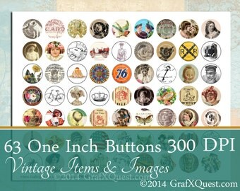 63 Vintage Images Collage Sheet One Inch Circles for Pendants, Magnets, Altered Art, Ephemera Style, Instant Download