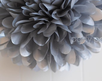 Metallic silver tissue pom pom .. New Years .. Wedding Decoration