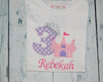 PERSONALIZED Princess Castle Birthday Shirt  Monogrammed 1, 2, 3, 4, 5, 6 birthday