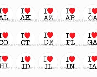 INSTANT DOWNLOAD...I Heart State Abbreviations....1 Inch Circle Image Collage for Bottle Caps...Buy 3 get 1
