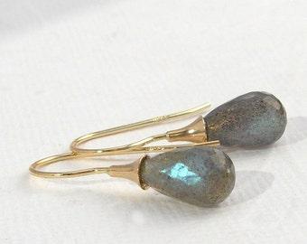 Shimmering Labradorite earrings, solid 14 K Yellow gold, eardangle