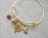 Nature's Favorites - Gold Tone Adjustable Bangle Bracelet - Acorn, Leaf, Tree - Unakite Gemstone