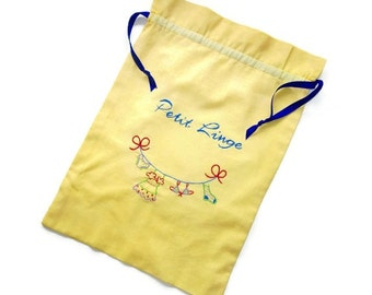 "Custom Lingerie or Laundry Bag- ""Petit Linge"" / or other slogan/Hand Embroidered on Your Color Choice"