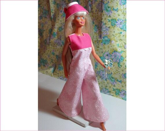 Barbie Clothes Handmade Pink Big Leg Jumpsuit and Hat, Barbie Jumpsuit, Barbie Hat, Barbie 1970s, Barbie Retro