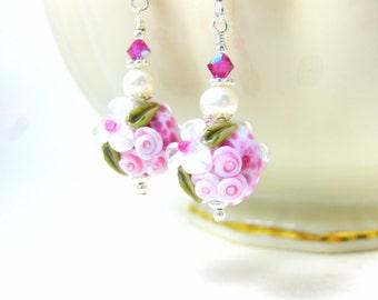 Pink & White Floral Earrings, Cottage Chic Earrings, Flower Jewelry, Lampwork Earrings, Vintage Inspired Earrings, Pearl Earrings - Connie