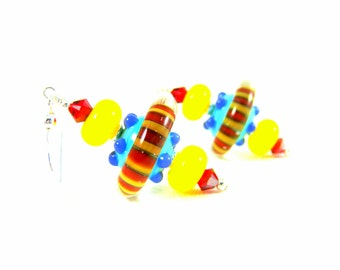Colorful Funky Earrings, Lampwork Earrings, Blue Yellow Red Earrings, Unusual Earrings, Glass Earrings, Unusual Earrings - Satellite