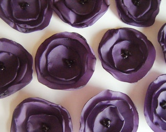 Purple wedding table decoration flowers, silk fabric flowers x 10 aubergine