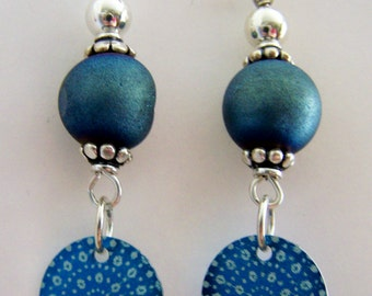 Round blue baked beads with blue aluminum disks, on sterling wire and sterling beads