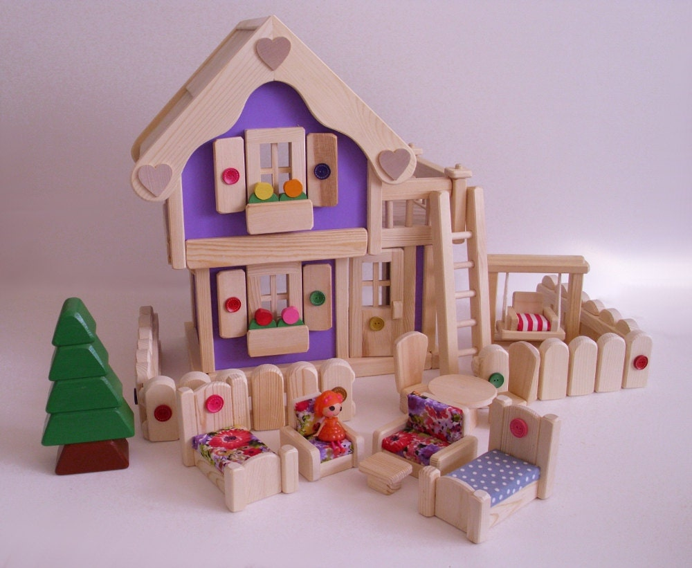 Wooden Doll House Wood Toy Dollhouse Furniture Kids
