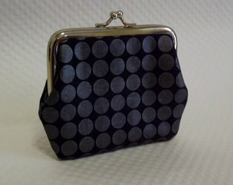 Coin Purse - Black Coin purse - Black Change Purse - Black and Grey Dots Coin Purse