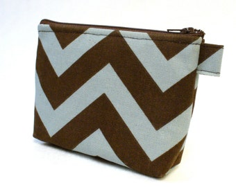 Chevron Fabric Gadget Pouch Cosmetic Bag Zipper Pouch Makeup Bag Cotton Zip Pouch Village Blue Brown Zig Zag