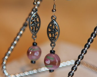 SALE 30% OFF -- Pink rose and sparkle dangling earrings