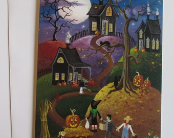All Hallows' Eve Blank Card with Envelope Artwork by KimsCottageArt