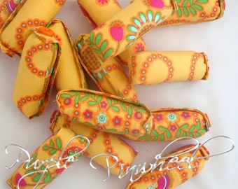 Yellow Floral Fabric Hair Curlers, size Small