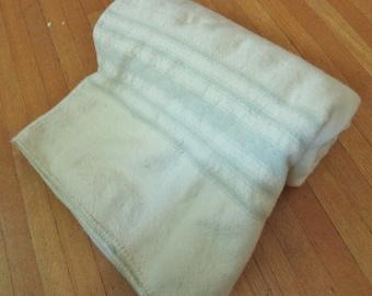 Antique PRIM wool BLANKET handwoven 1900 - 1930
