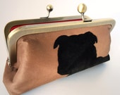 Dog Purse, Mini Clutch, Red Satin, Phone Case, Tampon Holder, Makeup Cosmetic Pouch, Bull Dog