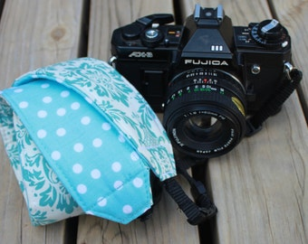 Monogramming Included Camera Strap for DSL Camera Turquoise and White Damask with Polka dot Reverse