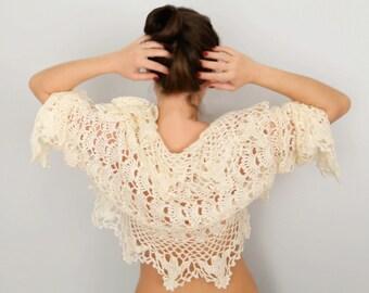SALE Crochet Shrug, Crochet bolero, Lace crochet shrug, long sleeve shrug, cropped jacket, Wedding shrug, Bridal shrug, Wool mohair shrug,