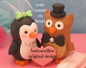 Penguin and Owl Wedding Cake Topper Cute Love Bird  Personalized on Heart