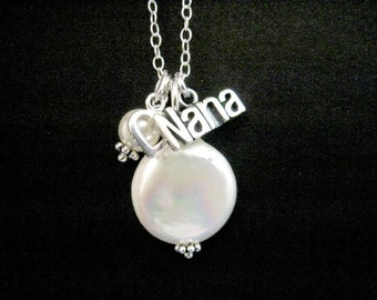 Sterling Silver Nana Necklace with Coin Pearl