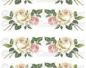 Instant Digital Download Vintage Pink White Cigar Roses Flowers Transparent PNG and Instructions to make Waterslide Decals too! ECS