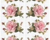 Instant Digital Download Cottage Pink Roses Flowers Catherine Klein Vintage Era Transparent Background PNG - U Print ECS