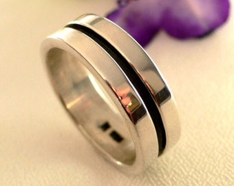 SALE - Mens Ring with Blackened and Polished Silver
