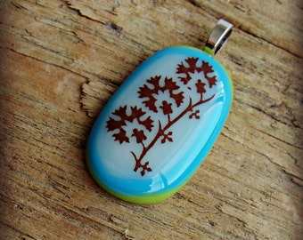 Fused Glass Pendant - Glass Art Necklace- Green, White, Turquoise Glass Jewelry - Modern Flowers