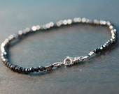 Black Spinel Tennis bracelet / faceted gemstone bracelet on silk cord / sterling silver findings / handmade / sparkle-black, beaded bracelet