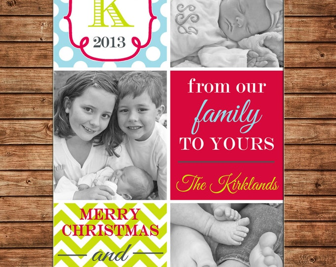 Christmas Holiday Photo Card Whimsical Red Turquoise Lime - Can Personalize - Printable File or Printed Cards