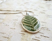 Fern Necklace - Bridesmaid Jewelry - Natural Bridesmaid Necklaces - Rustic Birch Bark with Pressed Leaf - Woodland Wedding Bridesmaid Gift