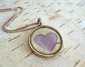 Lavender Lilac Bridesmaids Jewelry - Birch Bark Heart Bridesmaids Gift - Woodland Natural Pressed Leaf Jewelry - Purple Heart Necklace