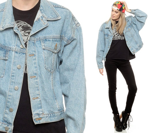 zugeschnittene jeansjacke 80er jahre verblasst jean jacket. Black Bedroom Furniture Sets. Home Design Ideas