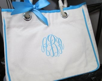 2 Monogrammed Bridesmaid Gift Totes, Personalized Canvas Tote Bag