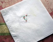 "Vintage White Linen Hanky/Handkerchief  Embroidered  ""K"" in White  Floss. Pink flowers"