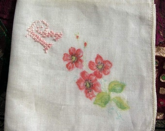 "Vintage White Cotton hanky/Handkerchief, Monogram ""R"" Hand Painted Flowers."